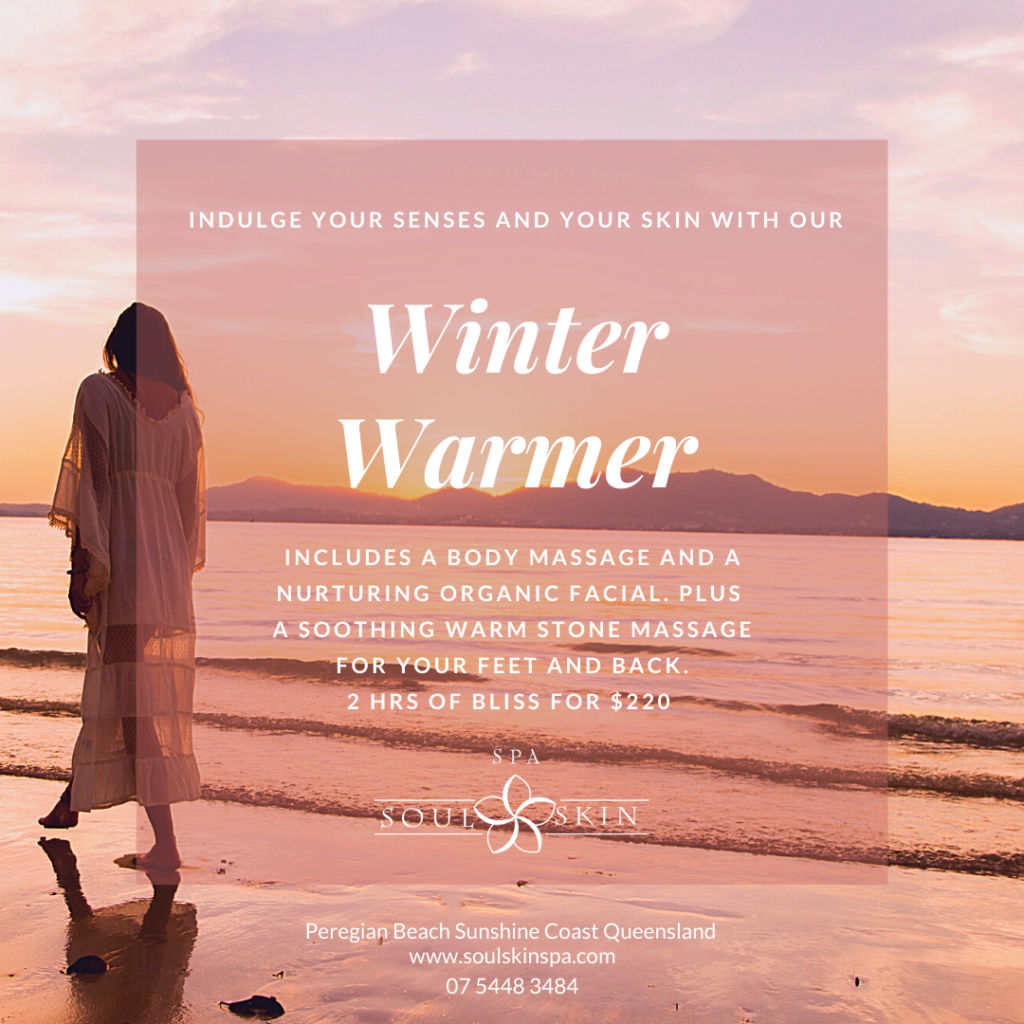 Winter Warmer Day Spa Package Noosa. Massage and facial with warm stones. Relaxing, Warming, Pure Wellness. To book phone 07 5448 3483